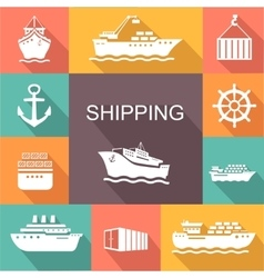 Set of transportation and shipping colored icons vector
