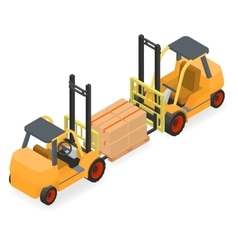 Forklifts elevate the pallet with cardboard boxes vector