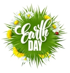 Earth day lettering poster with title green globe vector