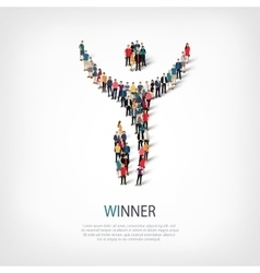 Winner people sign 3d vector