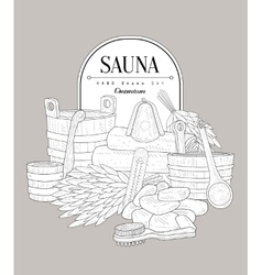 Sauna set vintage sketch vector