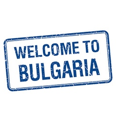 Welcome to bulgaria blue grunge square stamp vector
