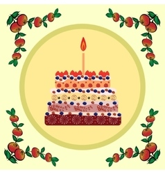 Birthday cake with one candle vector