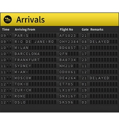 Airport timetable vector