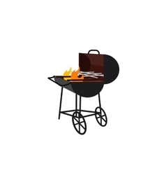 barbecue gland with flame vector image vector image