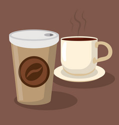 Beverage coffee cup paper portable hot vector