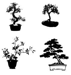 Bonsai sillhouette vector image