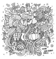 Cartoon hand drawn Doodle Thanksgiving vector image