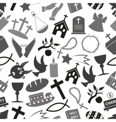 Christianity religion symbols grayscale seamless vector