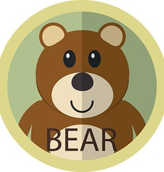 Cute brown bear cartoon flat icon avatar round vector image vector image