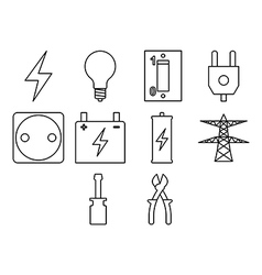 electric icon set vector image vector image