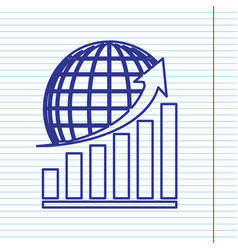Growing graph with earth navy line icon vector