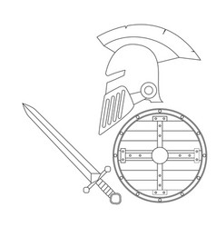 helmet sword and shiel vector image vector image
