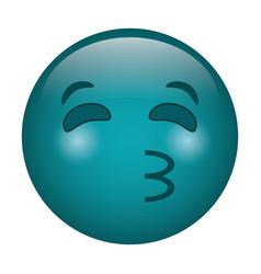 Kissing emoticon style icon vector