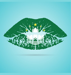 macau flag lipstick on the lips isolated on a vector image