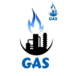 Natural gas factory complex with blue flame vector