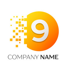 number nine logo symbol in colorful circle vector image