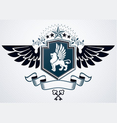 old style heraldic emblem made with pentagonal vector image