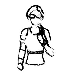 Portrait woman wearing smart glasses and earphones vector