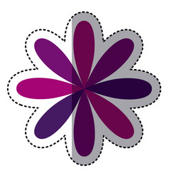 purple flower with oval petals icon vector image vector image