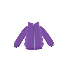 Purple ski jacket down parka for a child kid vector