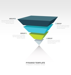 Pyramid upside down infographic template 4 color vector