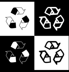 Recycle logo concept black and white vector