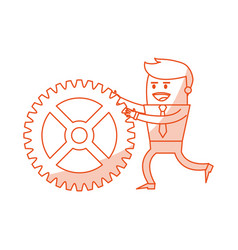 red silhouette image cartoon business man pushing vector image