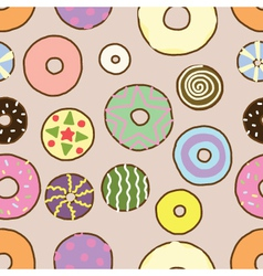 Seamless of Colorful Donuts vector image vector image