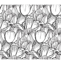 seamless pattern with graphic spring flowers vector image vector image