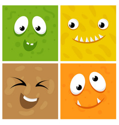 set of cartoon monster faces vector image vector image
