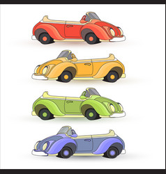 Set of colorful toy cars isolated on whit vector