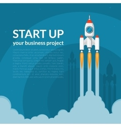Space rocket launch business start up concept vector