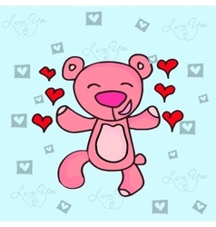 Valentine day bear character collection vector image