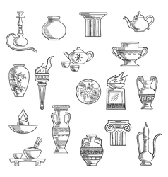 Various containers and kitchenware sketches vector image
