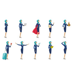Young muslim stewardess set vector