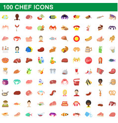 100 chef icons set cartoon style vector