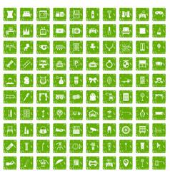 100 mirror icons set grunge green vector