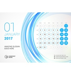 Desk calendar for 2017 year january week starts vector