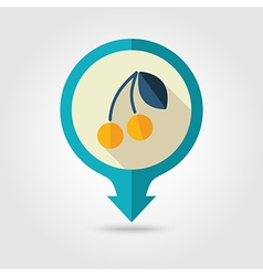 Cherry flat pin map icon fruit vector
