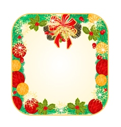 Button square christmas spruce and poinsettia vector
