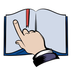 open book with finger icon vector image