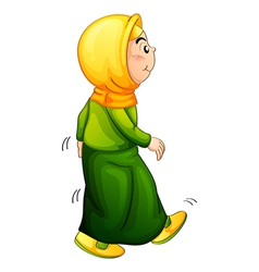 An old Muslim walking vector image