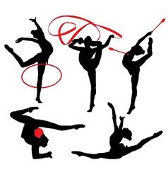 Rhythmic gymnastics silhouette vector