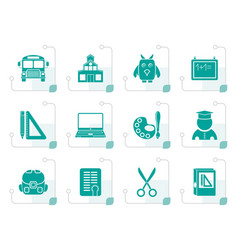Stylized school and education objects vector