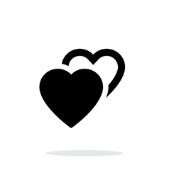 Two hearts icon on white background vector