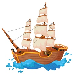 Cartoon ship isolated vector