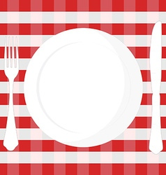 Tablecloth plate fork and knife vector