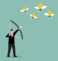 Businessman with a bow and arrow hitting the light vector image