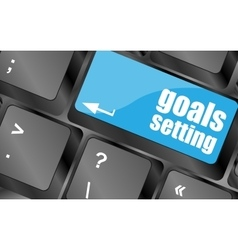 Goals setting button on keyboard with soft focus vector